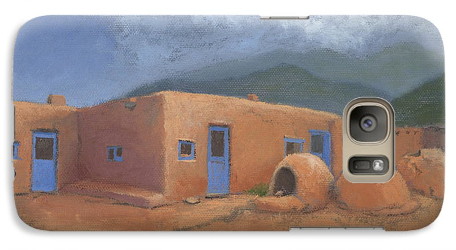 Taos Galaxy S7 Case featuring the painting Puertas Azul by Jerry McElroy