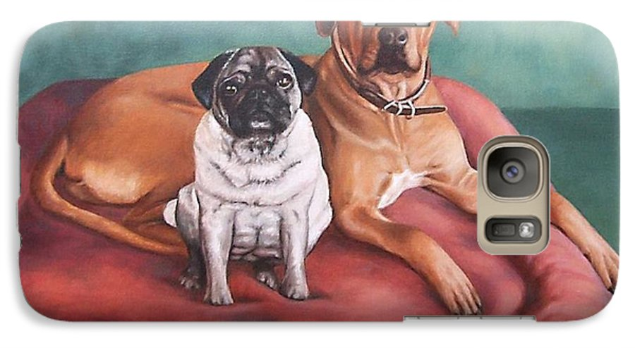 Dogs Galaxy S7 Case featuring the painting Pug And Rhodesian Ridgeback by Nicole Zeug