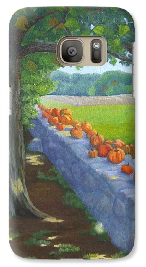 Pumpkins Galaxy S7 Case featuring the painting Pumpkin Muster by Sharon E Allen
