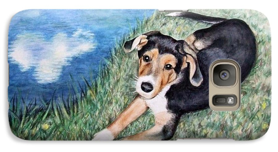 Dog Galaxy S7 Case featuring the painting Puppy Max by Nicole Zeug