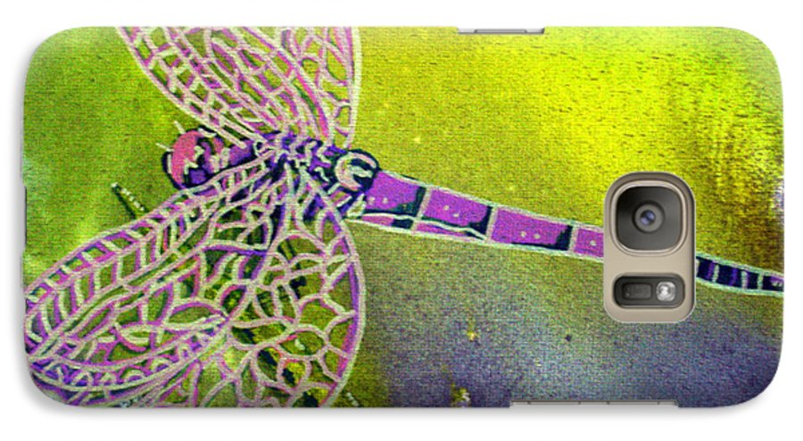 Dragonfly Galaxy S7 Case featuring the painting Purple Dragonfly by Susan Kubes