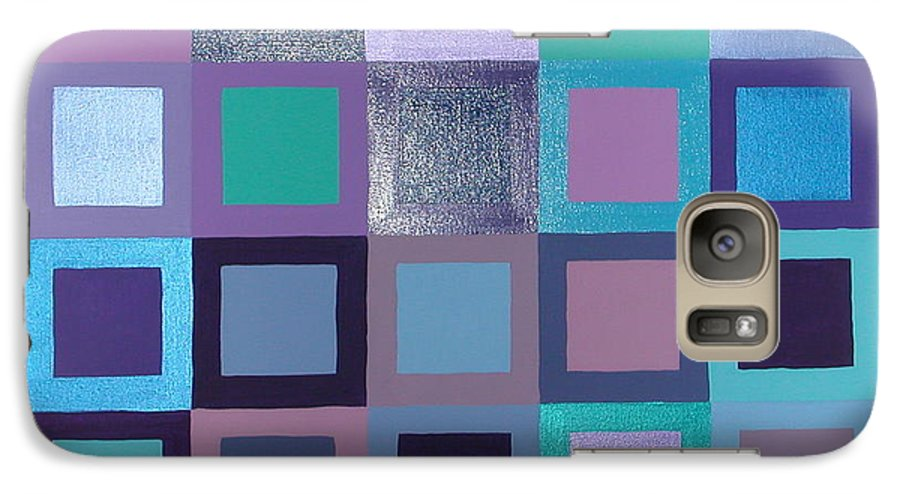 Squares Galaxy S7 Case featuring the painting Purple Haze by Gay Dallek