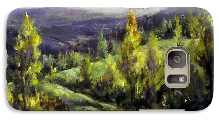 Landscape Mountains Galaxy S7 Case featuring the painting Purple Haze by Ruth Stromswold