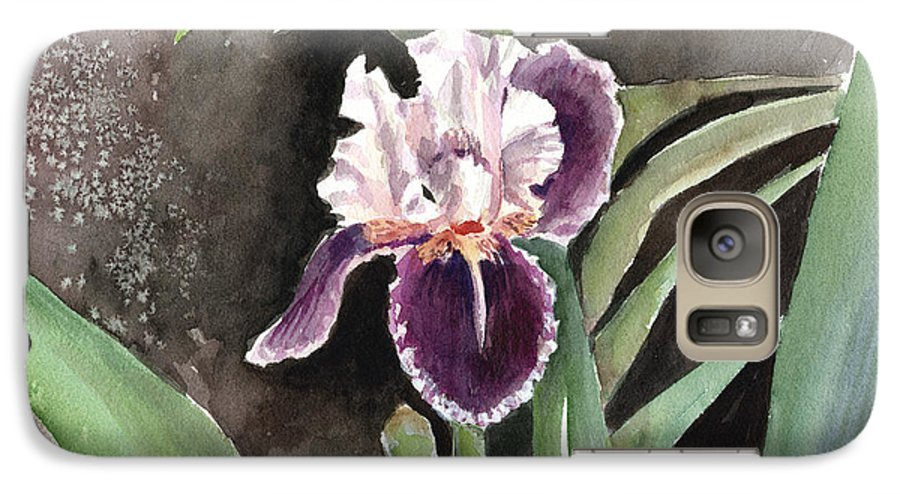 Flower Galaxy S7 Case featuring the painting Purple Iris by Arline Wagner