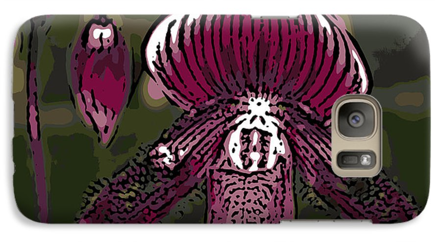 Orchid Galaxy S7 Case featuring the photograph Purple Orchid Woodcut by Ann Tracy