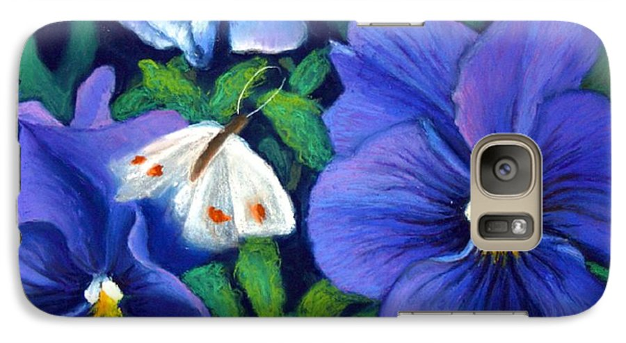 Pansy Galaxy S7 Case featuring the painting Purple Pansies And White Moth by Minaz Jantz