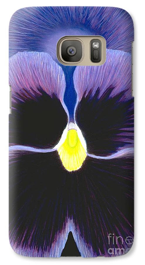 Pansy Galaxy S7 Case featuring the painting Purple Pansy by Mary Erbert