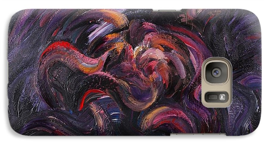 Purple Galaxy S7 Case featuring the painting Purple Passion by Nadine Rippelmeyer