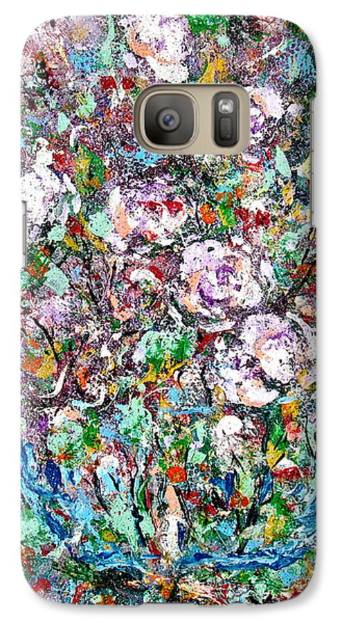 Abstract Galaxy S7 Case featuring the painting Purple Passions by Natalie Holland