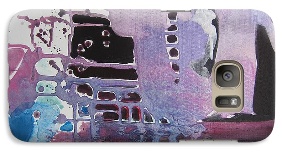 Abstract Paintings Galaxy S7 Case featuring the painting Purple Seascape by Seon-Jeong Kim