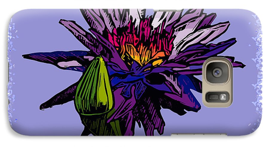 Water Lily Galaxy S7 Case featuring the drawing Purple Water Lily by John Lautermilch