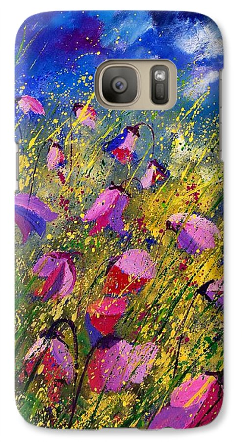 Poppies Galaxy S7 Case featuring the painting Purple Wild Flowers by Pol Ledent