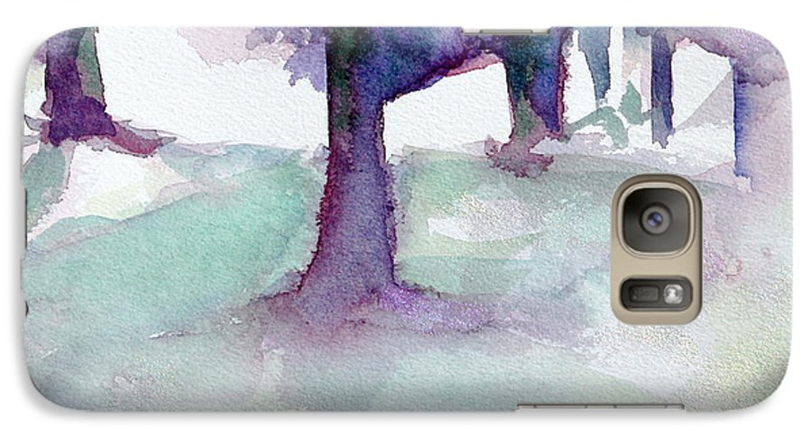Landscape Galaxy S7 Case featuring the painting Purplescape II by Jan Bennicoff