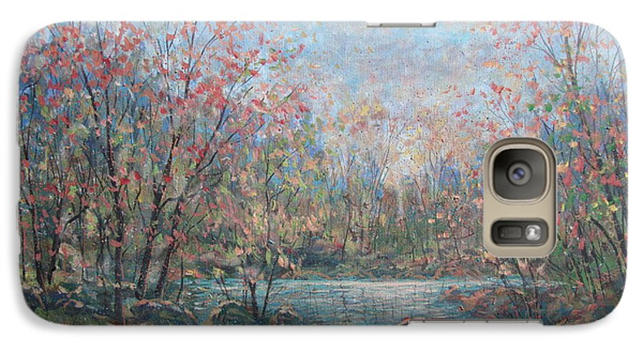 Landscape Galaxy S7 Case featuring the painting Quiet Evening. by Leonard Holland