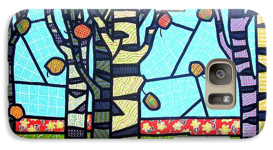 Birch Trees Galaxy S7 Case featuring the painting Quilted Birch Garden by Jim Harris