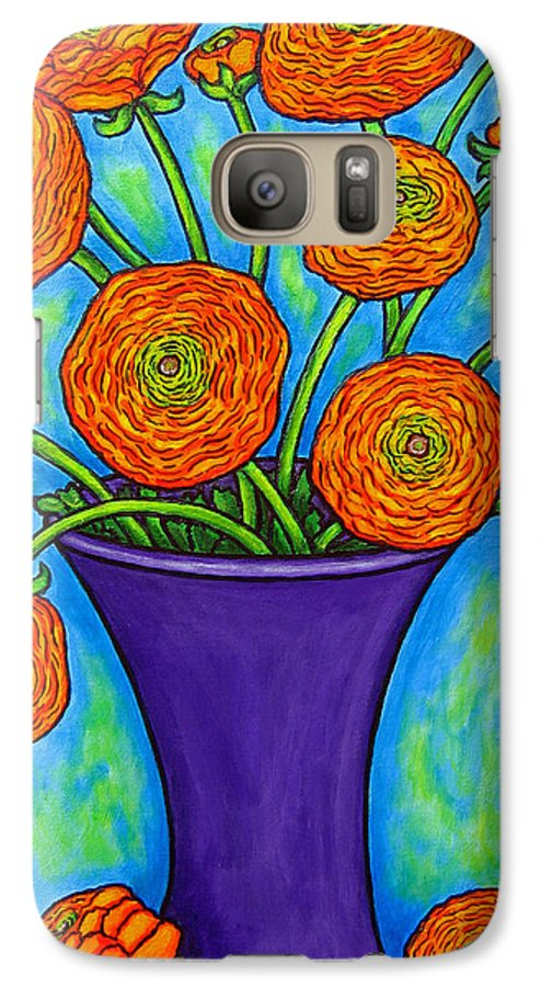 Green Galaxy S7 Case featuring the painting Radiant Ranunculus by Lisa Lorenz