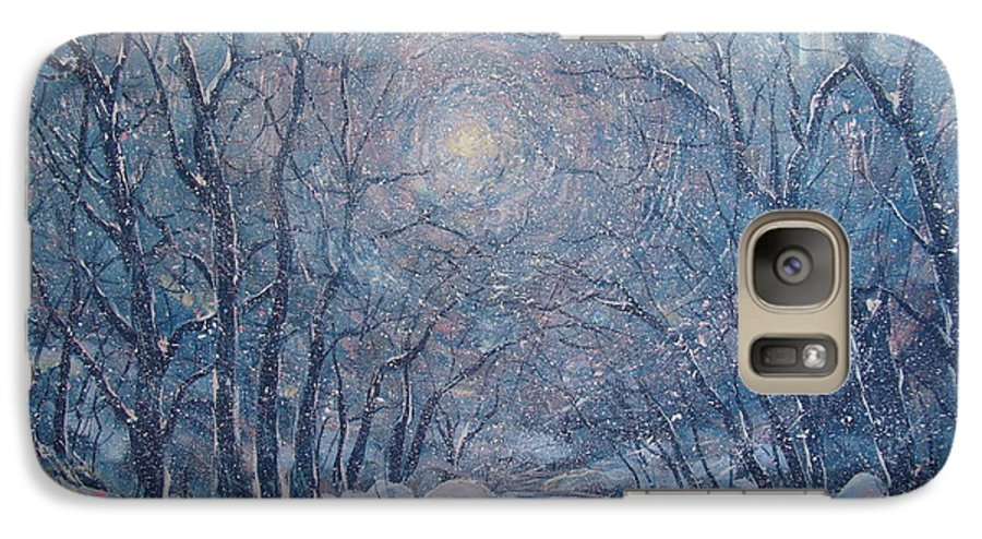 Snow Landscape Galaxy S7 Case featuring the painting Radiant Snow Scene by Leonard Holland