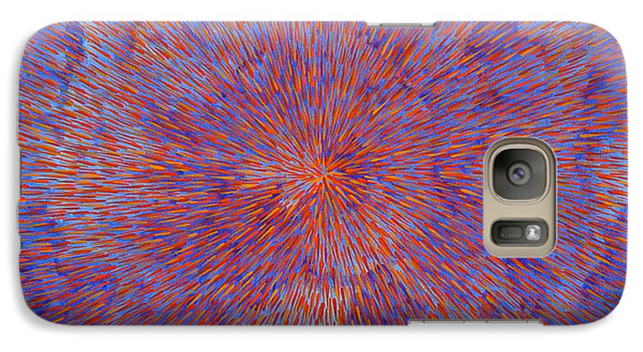 Abstract Galaxy S7 Case featuring the painting Radiation With Blue And Red by Dean Triolo