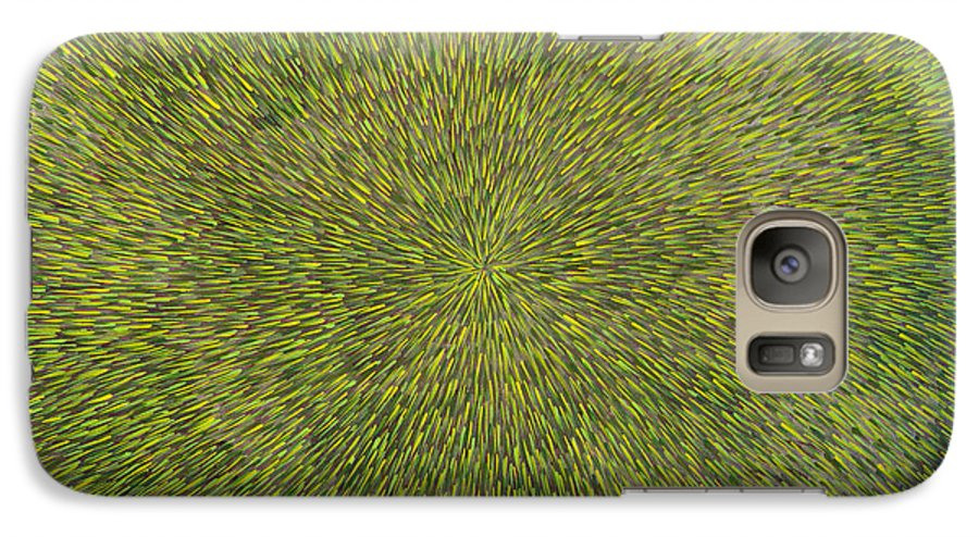 Abstract Galaxy S7 Case featuring the painting Radiation With Green With Yellow by Dean Triolo