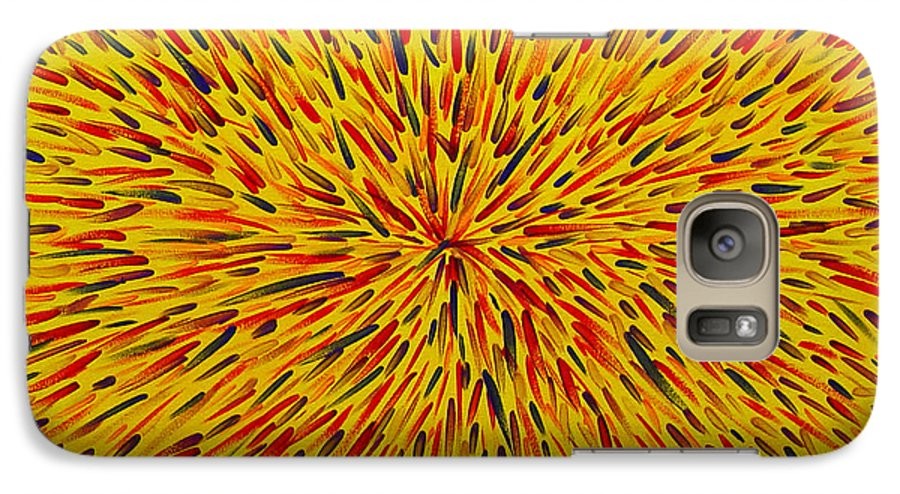 Abstract Galaxy S7 Case featuring the painting Radiation Yellow by Dean Triolo