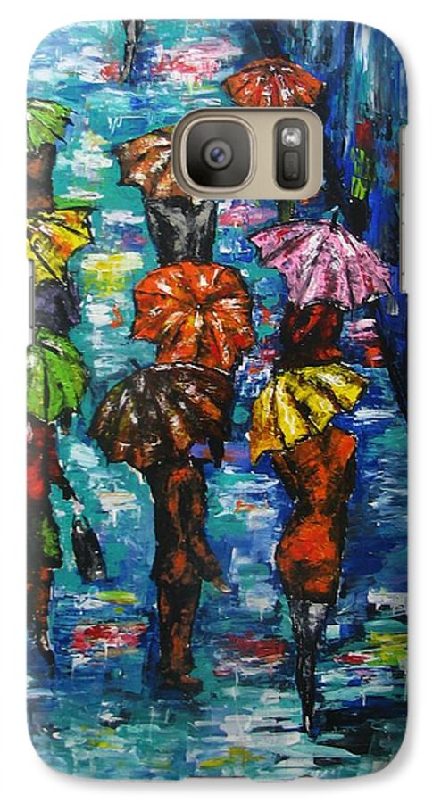 Rain Galaxy S7 Case featuring the painting Rain Fantasy Acrylic Painting by Natalja Picugina