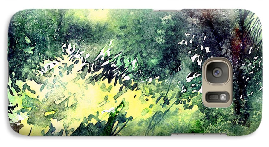 Landscape Watercolor Nature Greenery Rain Galaxy S7 Case featuring the painting Rain Gloss by Anil Nene