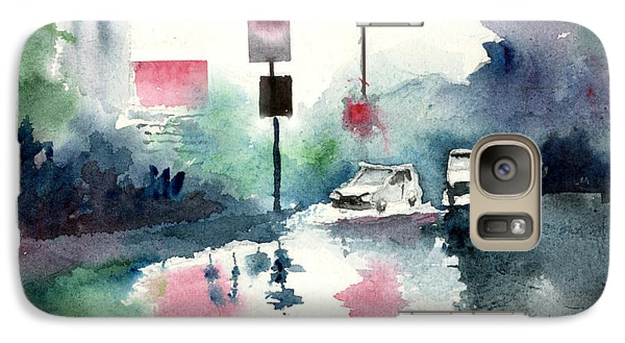 Nature Galaxy S7 Case featuring the painting Rainy Day by Anil Nene