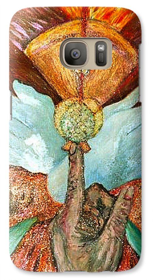Spiritual Galaxy S7 Case featuring the painting Raise It Golden by Stephen Mead