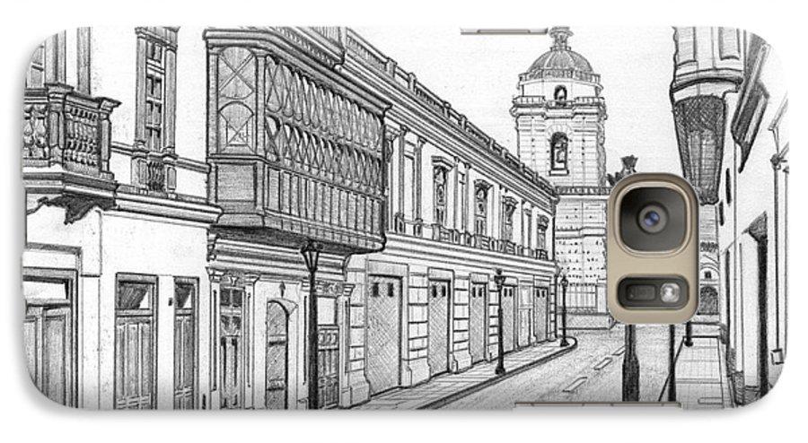 Landscape Galaxy S7 Case featuring the drawing Rastro De San Francisco by German Paredes