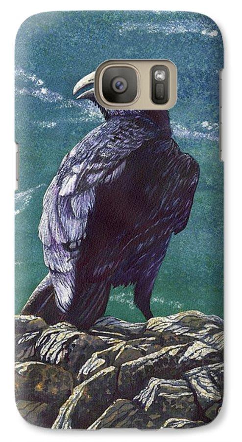 Bird Galaxy S7 Case featuring the painting Raven by Catherine G McElroy
