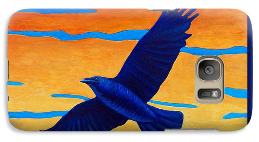 Raven Galaxy S7 Case featuring the painting Raven Rising by Brian Commerford