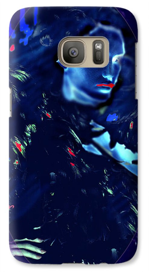 A Bizarre Evil Witch Flies With The Ravens Galaxy S7 Case featuring the digital art Raven Woman by Seth Weaver
