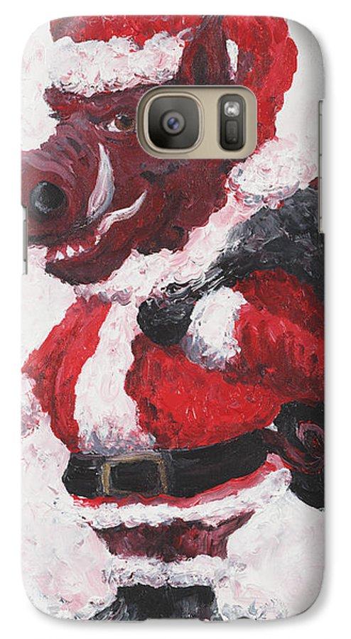 Santa Galaxy S7 Case featuring the painting Razorback Santa by Nadine Rippelmeyer