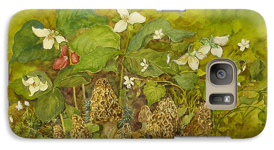 Mushrooms;trillium;spring;violets;woods;woodland;morels;watercolor Painting; Galaxy S7 Case featuring the painting Ready For Pickin' by Lois Mountz