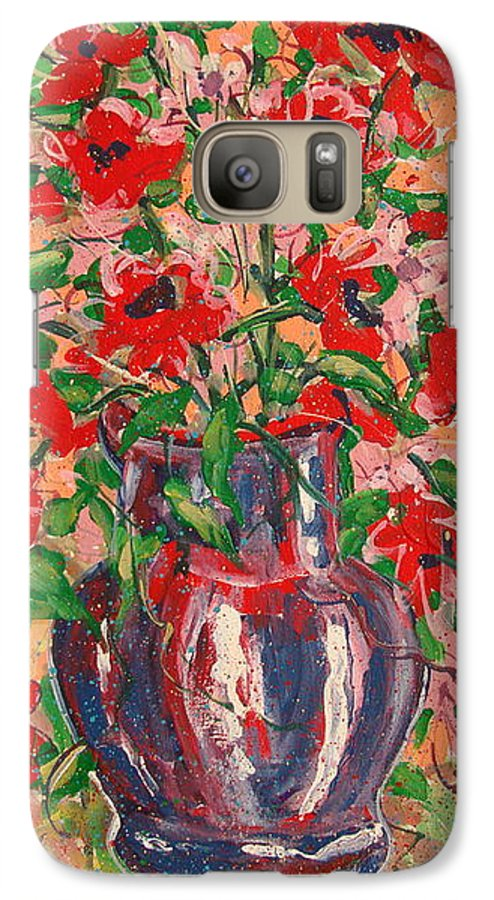 Flowers Galaxy S7 Case featuring the painting Red And Pink Poppies. by Leonard Holland