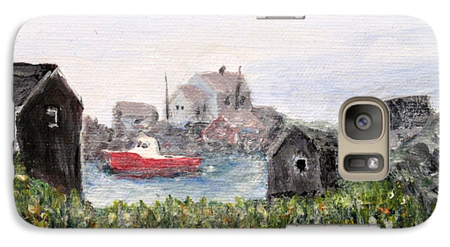 Red Boat Galaxy S7 Case featuring the painting Red Boat In Peggys Cove Nova Scotia by Ian MacDonald