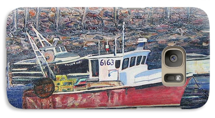 Boat Galaxy S7 Case featuring the painting Red Boat Reflections by Richard Nowak