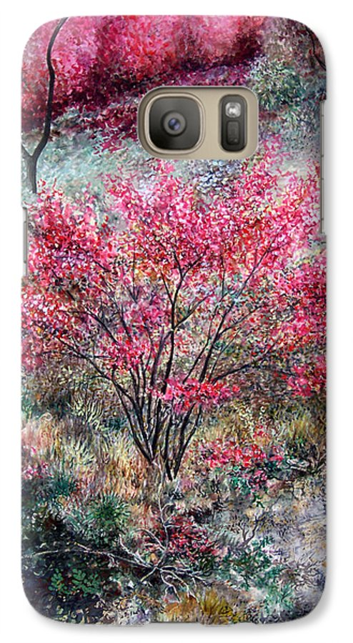 Landscape Galaxy S7 Case featuring the painting Red Bush by Valerie Meotti