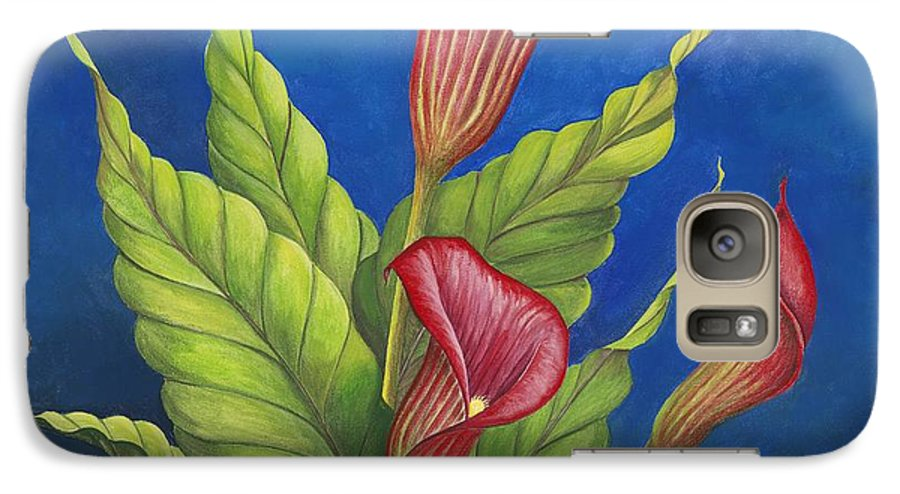 Red Calla Lillies On Blue Background Galaxy S7 Case featuring the painting Red Calla Lillies by Carol Sabo
