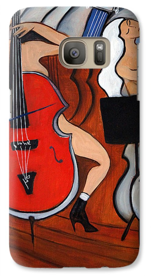 Cubic Abstract Galaxy S7 Case featuring the painting Red Cello 2 by Valerie Vescovi