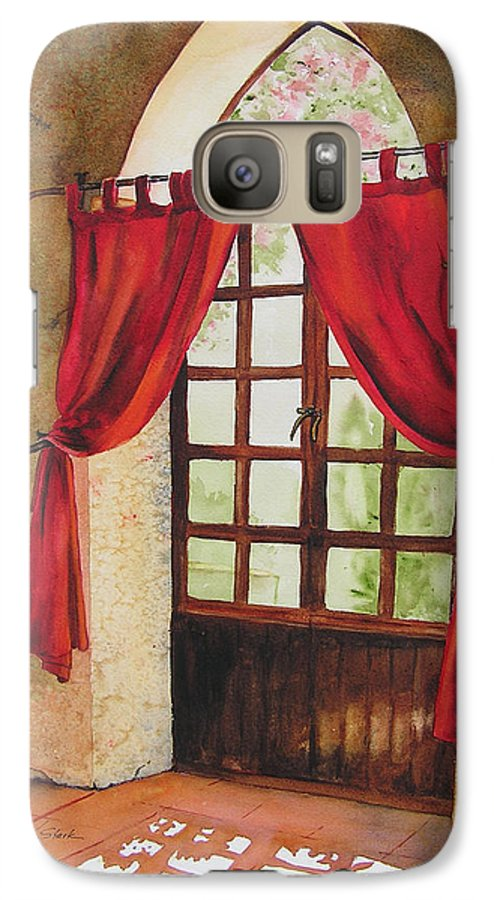 Curtain Galaxy S7 Case featuring the painting Red Curtain by Karen Stark