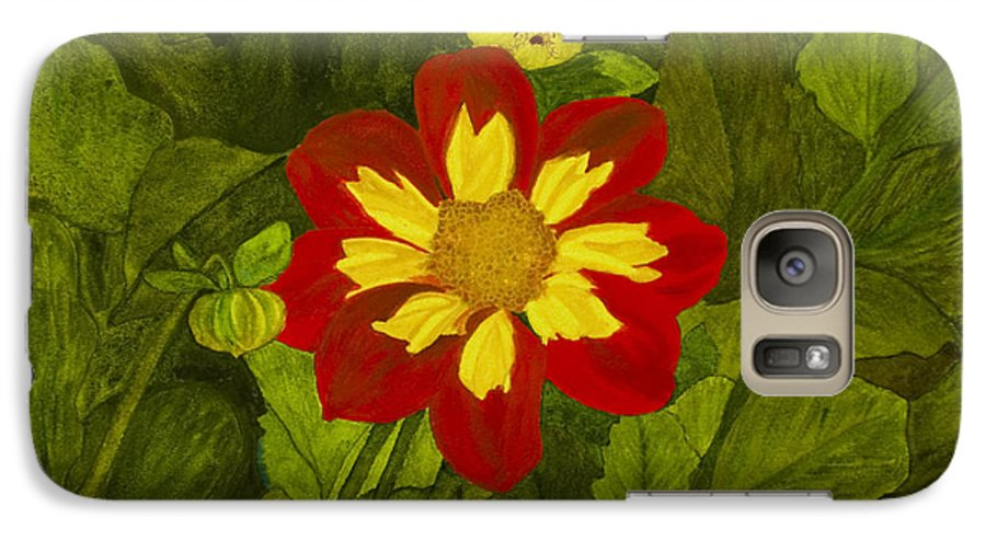 Red Galaxy S7 Case featuring the painting Red Dahlia by Louise Magno