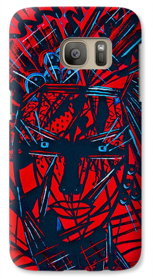 Abstract Galaxy S7 Case featuring the painting Red Exotica by Natalie Holland
