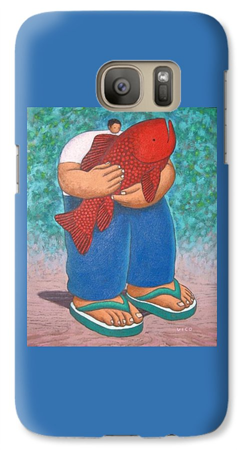 Acrylic Galaxy S7 Case featuring the painting Red Fish And Blue Trousers. by Vico Vico