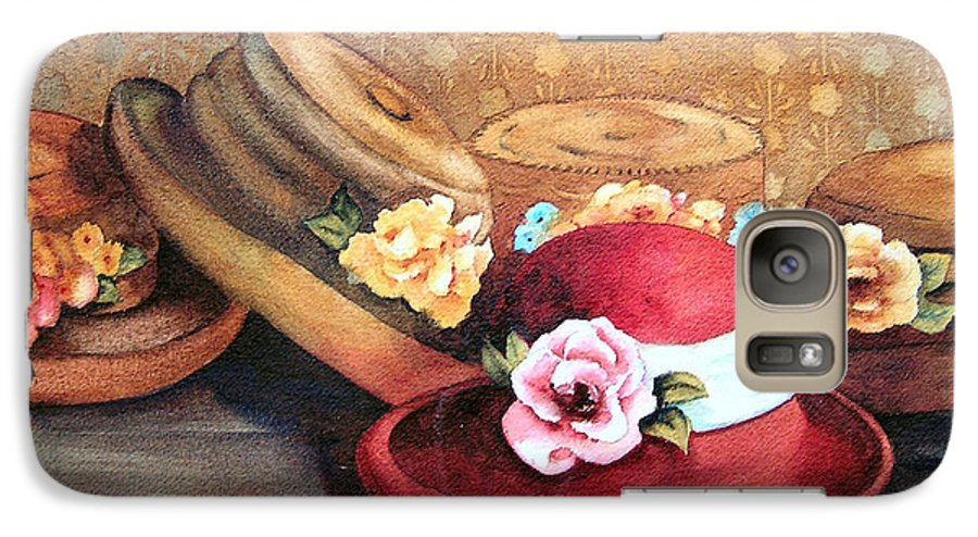 Hat Galaxy S7 Case featuring the painting Red Hat by Karen Stark