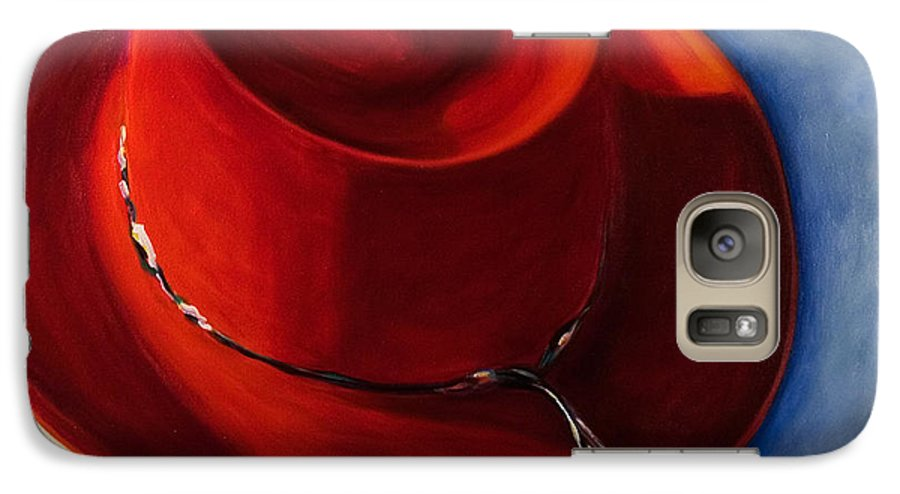 Red Hat Galaxy S7 Case featuring the painting Red Hat by Shannon Grissom