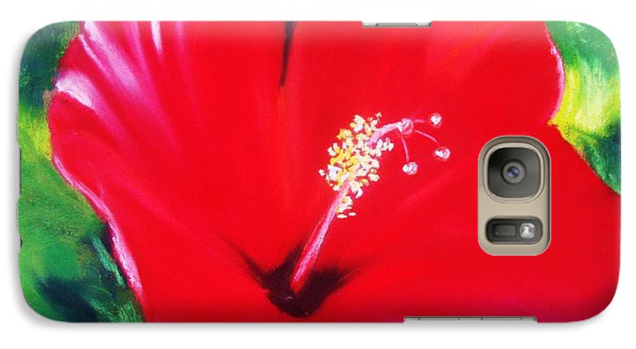 Bright Flower Galaxy S7 Case featuring the painting Red Hibiscus by Melinda Etzold