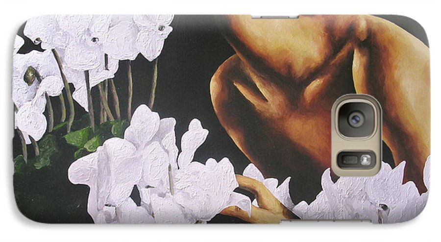 Nude Galaxy S7 Case featuring the painting Red Lips White Flowers by Trisha Lambi