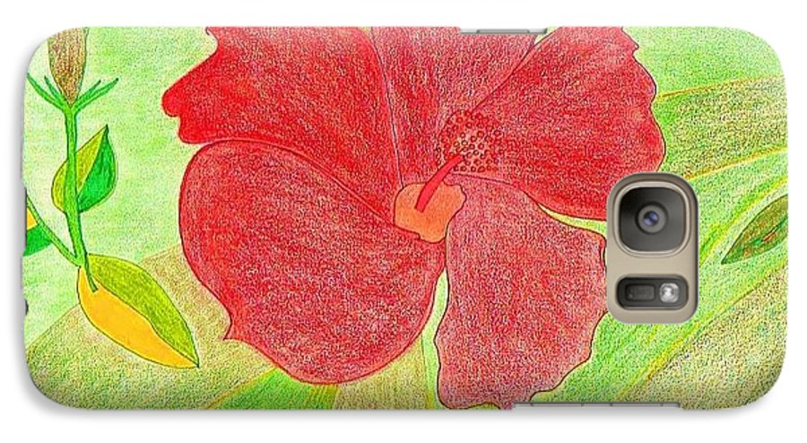 Red Flower Galaxy S7 Case featuring the drawing Red Passion by Michael Puya