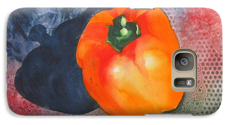 Pepper Galaxy S7 Case featuring the painting Red Pepper Solo by Jean Blackmer
